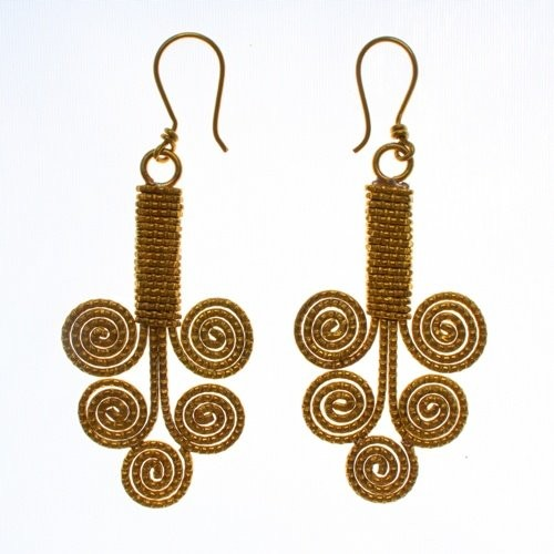 Dhokra handmade brass basic tree wire wrapping tribal Earring  by culturelink