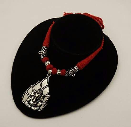 Handmade German silver red thread flower ganapati  pendent necklace
