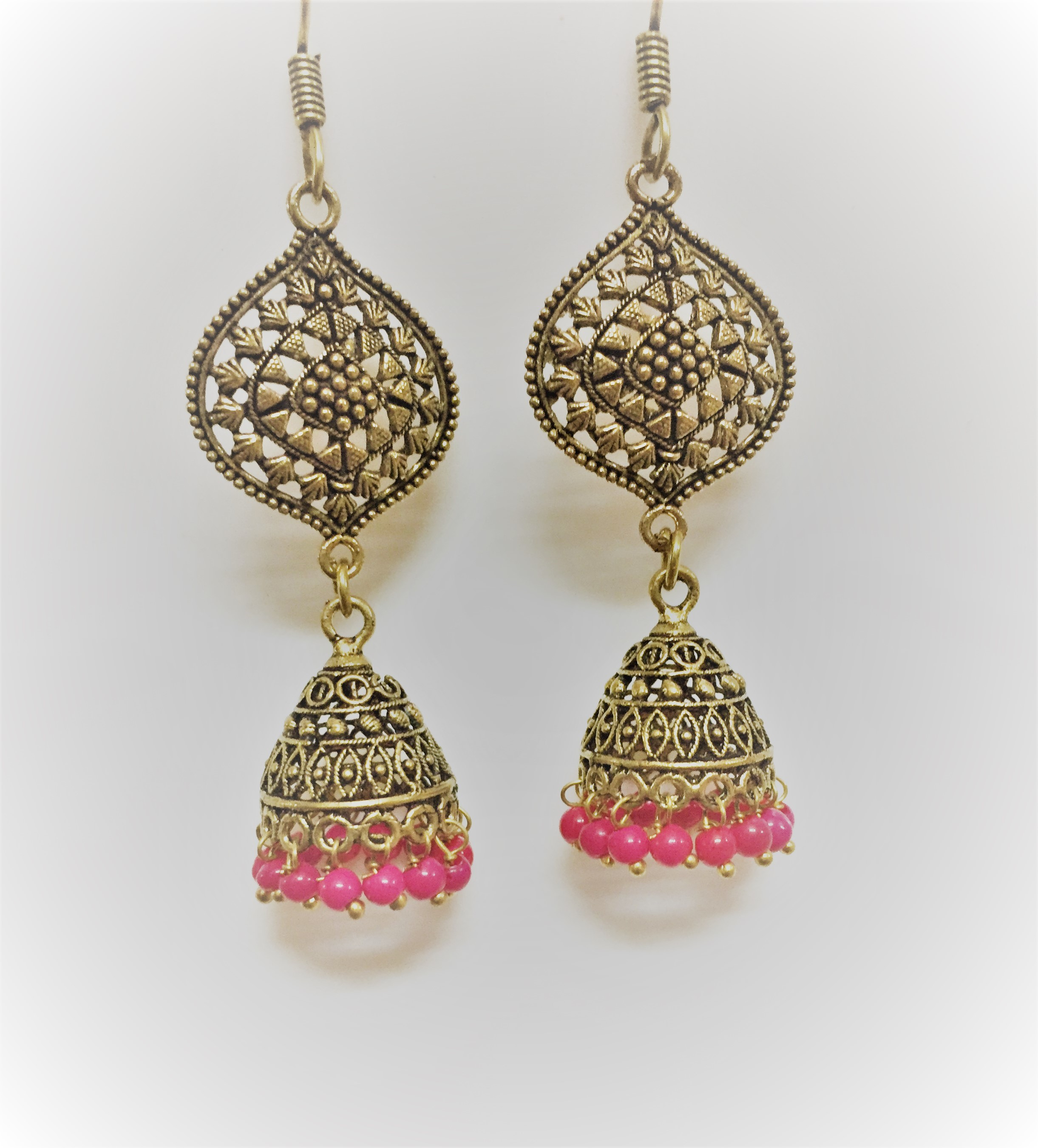 Trendy oxidized golden jhumka with pink mini beads