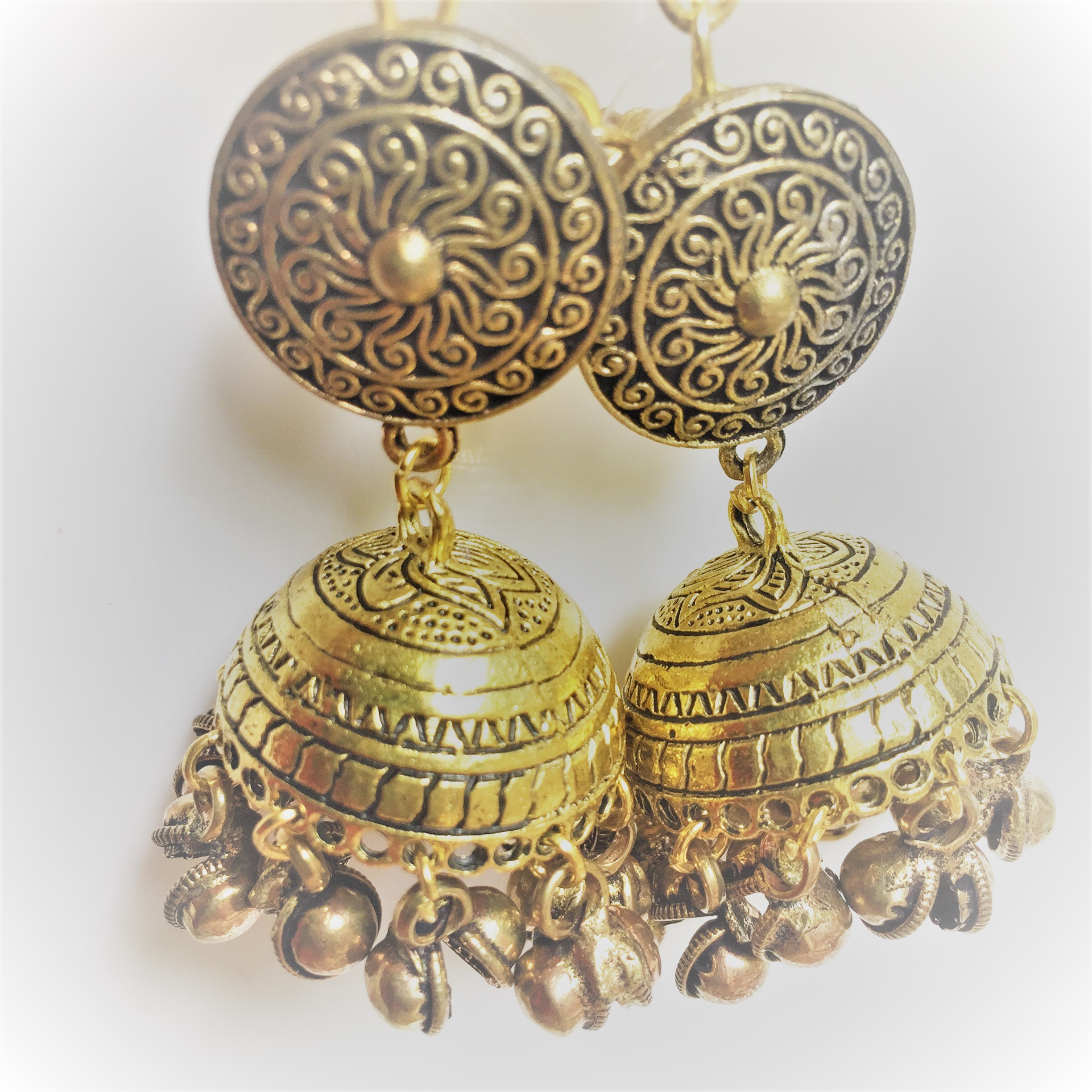 earrings stud jewellery traditional products punjabi antique gold by