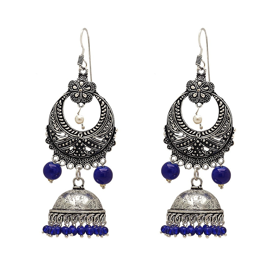 Culturelink Oxidized german silvet Multi Layer Chandbali Earrings with blue finishing
