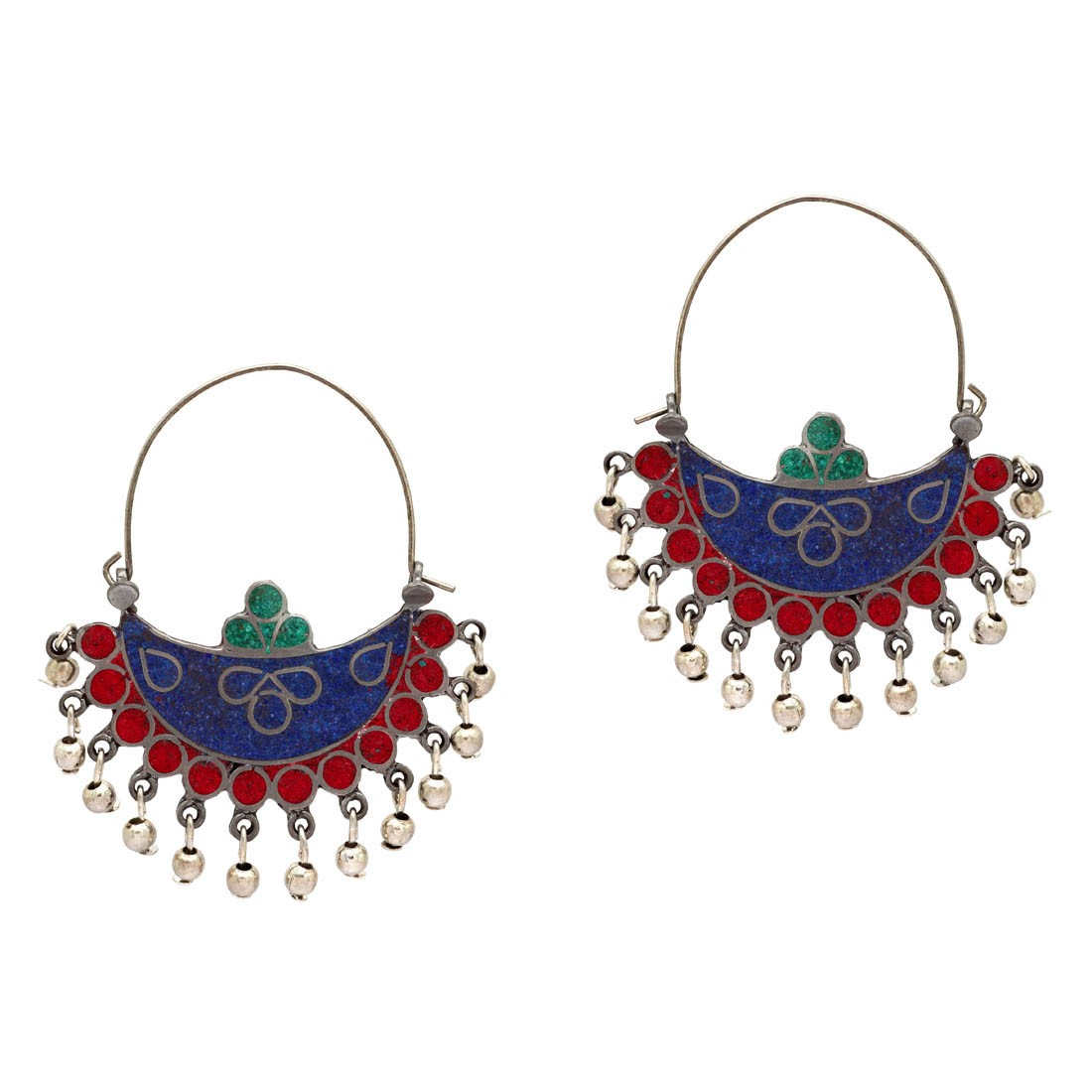 Culturelink German Silver Afghani Blue green red Dangler Hook Chandbali Earrings
