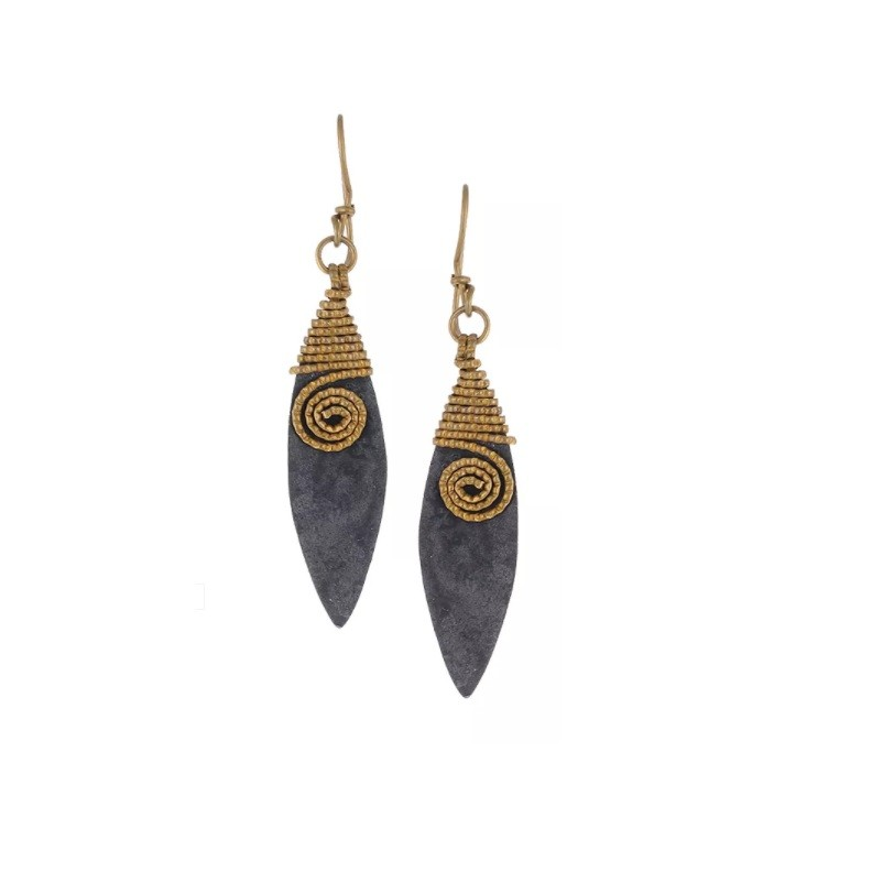 Two tone Dhokra handmade brass basic leaf wire wrapping tribal Earring  by culturelink