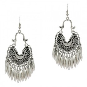 Culturelink German Silver Afghani Dangler Hook tear drop Chandbali Earrings For Girls And Women