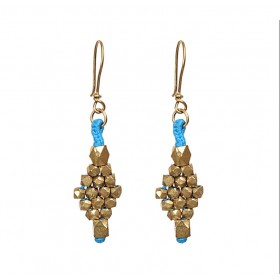 Sky Dhokra handmade brass basic bead tribal Earrings by culturelink
