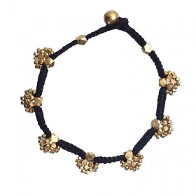 Dhokra Lost wax technique Black floral bead Anklet by culturelink