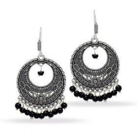 Ethnic beautiful oxidized silver chandbalis earrings with black beads