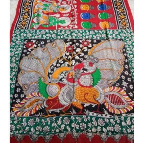 Kalamkari wooden pen handpainted red  budha  saree