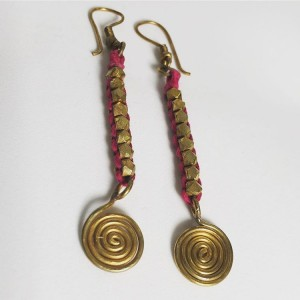 Dokra Lost wax casting brass big ball thread wrapped pink earring