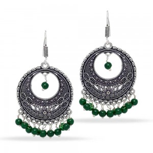 Ethnic beautiful oxidized silver chandbalis earrings with green beads
