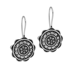 Designer  beautiful oxidized silver flower dangle hook earrings