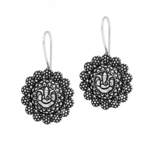 Designer  beautiful oxidized silver ganapati  dangle hook earrings