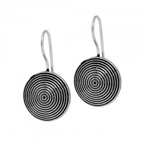 Designer  beautiful oxidized silver Spiral infinity  dangle hook earrings