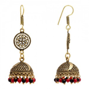 Culturelink Oxidized Red Black Partywear Collection Oxidised Earrings