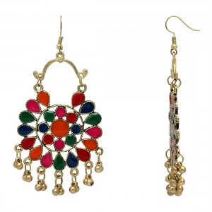 Culturelink German Silver Afghani Dangler Hook Chandbali Earrings For Girls And Women