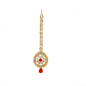 Multicolor Kundan Red / White Finish Maangtikka By Culturelink