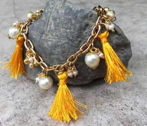 Silk thread party yellow tassel,pearl,seed bead Anklet