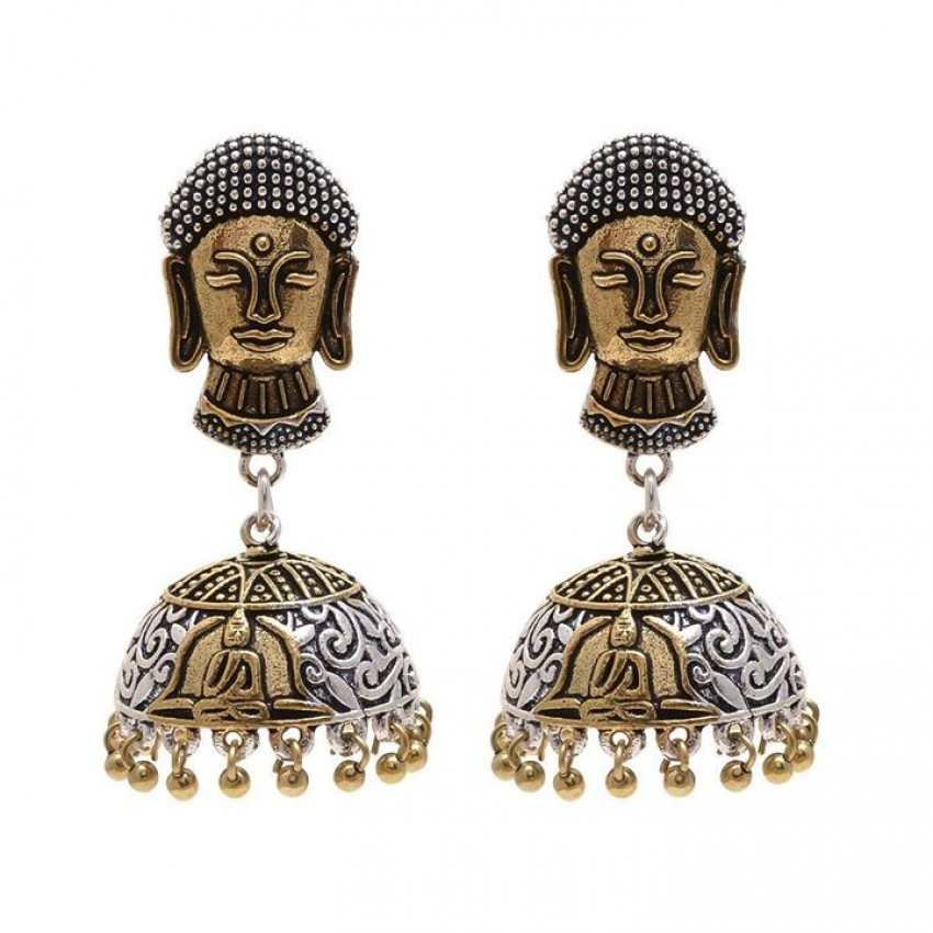 Two tone oxidized budha jhumkas