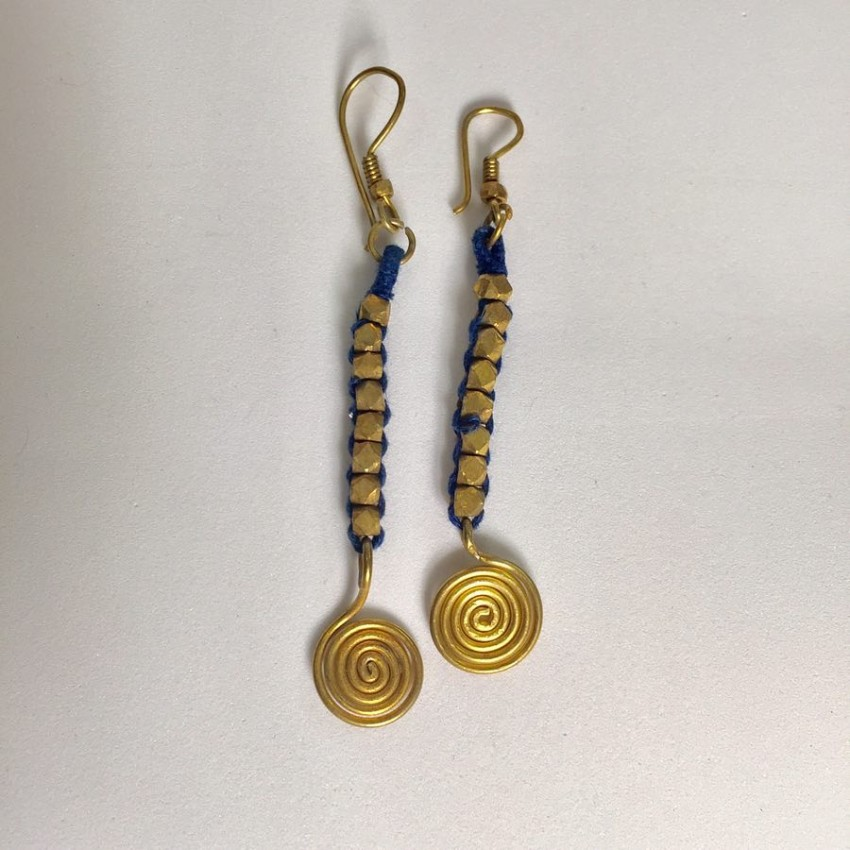 Dokra Lost wax casting brass big ball thread wrapped blue earring