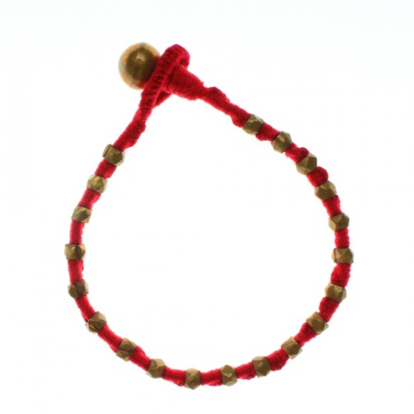 Dhokra Lost wax technique Big Bead Red Bracelet by culturelink