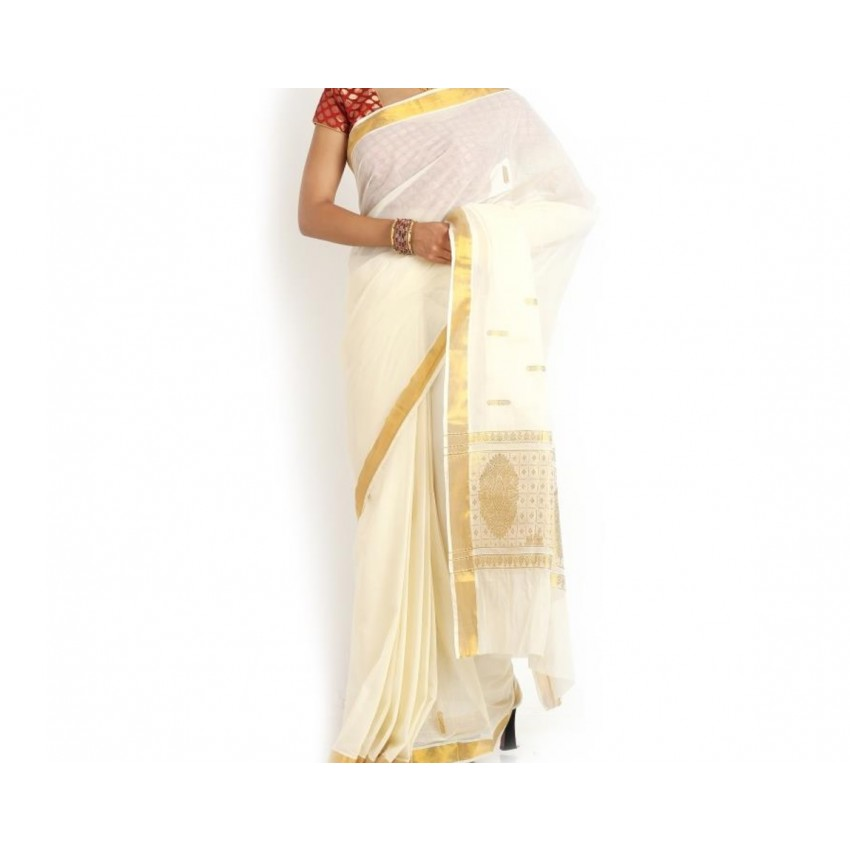 Kerala Kasavu Cotton Saree With Embroidered Buti And Blouse Piece