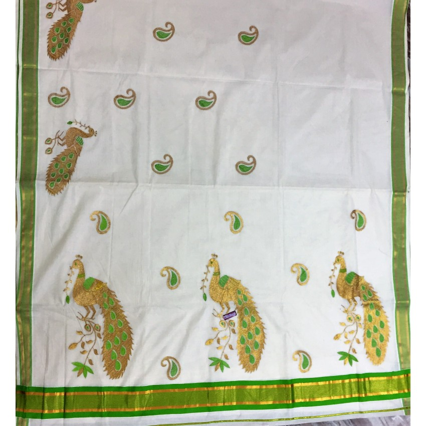 Kerala Kasavu Cotton Saree With green peacock Embroidered  And Blouse Piece