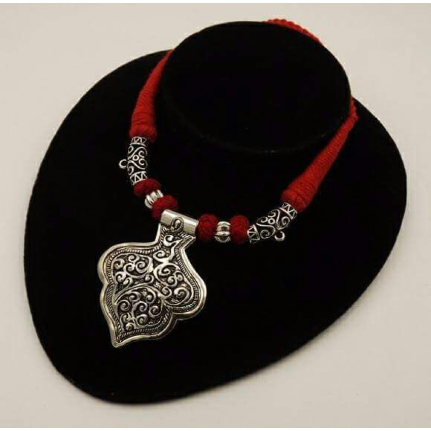 Handmade German silver red thread petal pendent necklace