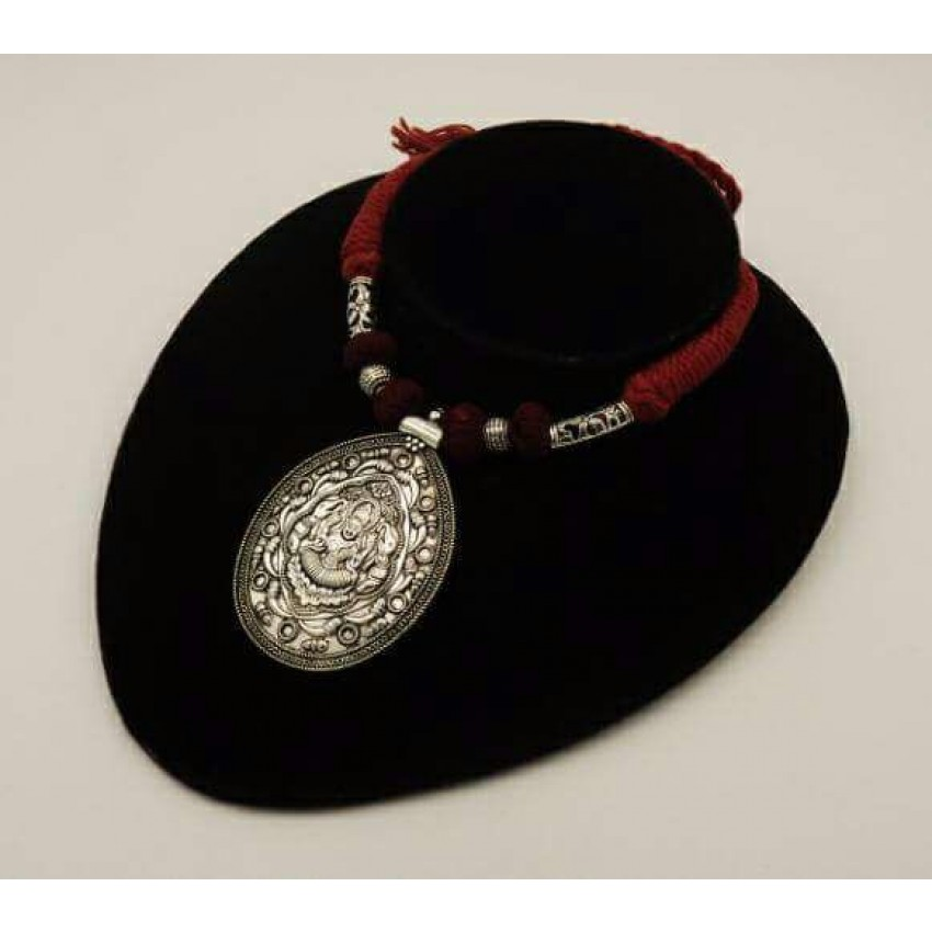 Handmade German silver red thread lakshmi pendent necklace