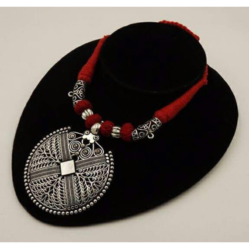 Handmade German silver red thread round  pendent necklace