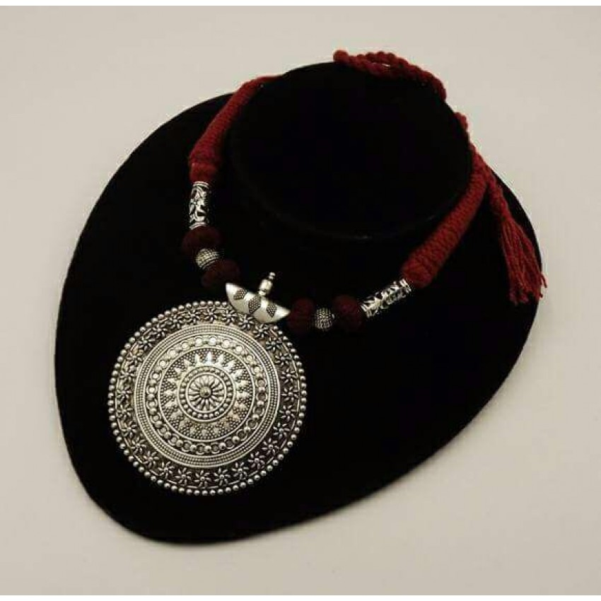 Handmade German silver maroon  thread   round pendent necklace