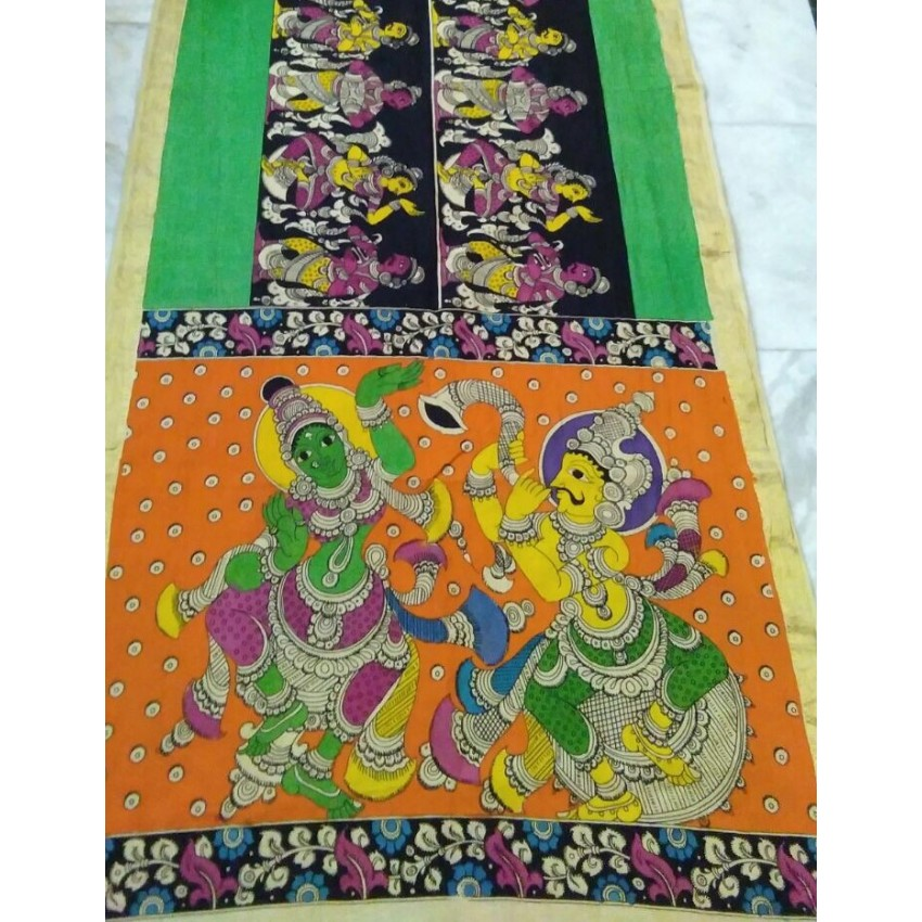 KALAMKARI CREAM BASE ORANGE GREEN DANCING DEITY WOODEN PEN  HAND PAINTED DUPATTA