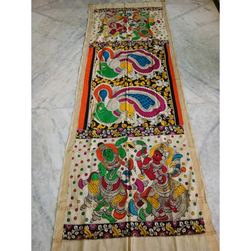 KALAMKARI CREAM BLACK COLOR BASE  VILLAGERS AND DANCERS  WOODEN PEN  HAND PAINTED DUPATTA
