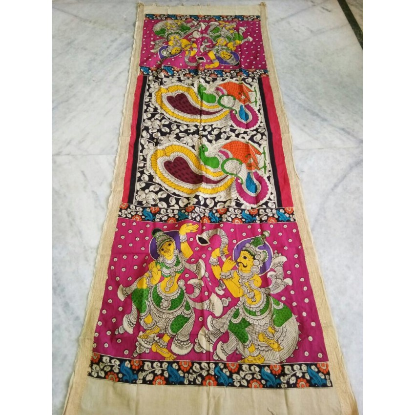 KALAMKARI PINK COLOR BASE DANCERS WITH PEACOCK WOODEN PEN  HAND PAINTED DUPATTA