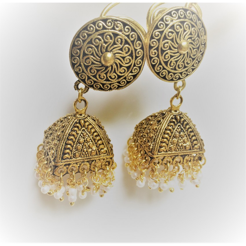 Ethnic oxidized big golden jhumka with antique stud