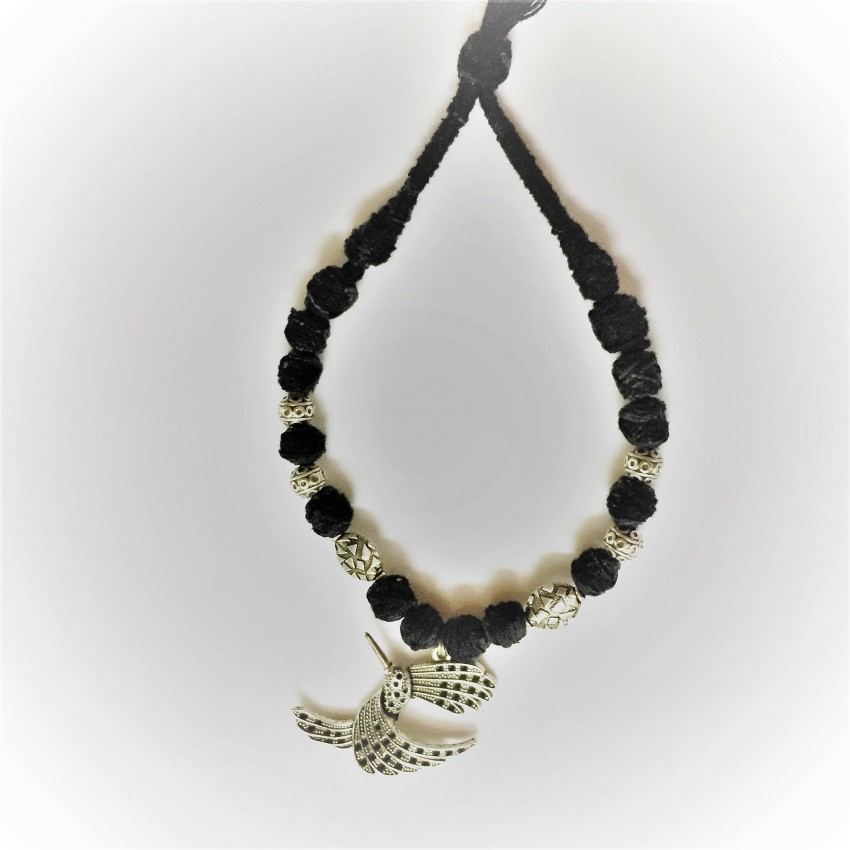 Style Statement German Silver kingfisher black thread Necklace