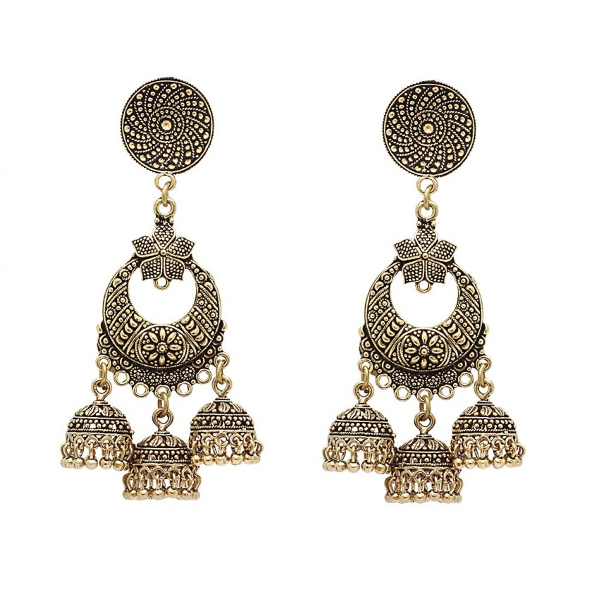 Culturelink Oxidized Golden Multi Layer Chandbali Earrings For Girls And Women