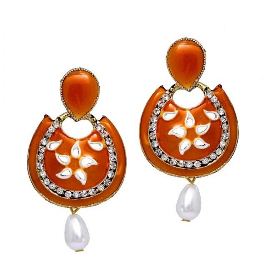 Orange Meenakari Eardrops By Culturelink