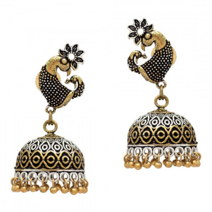 Two Tone Oxidized Golden Jhumka With Peacock Stud by Culturelink