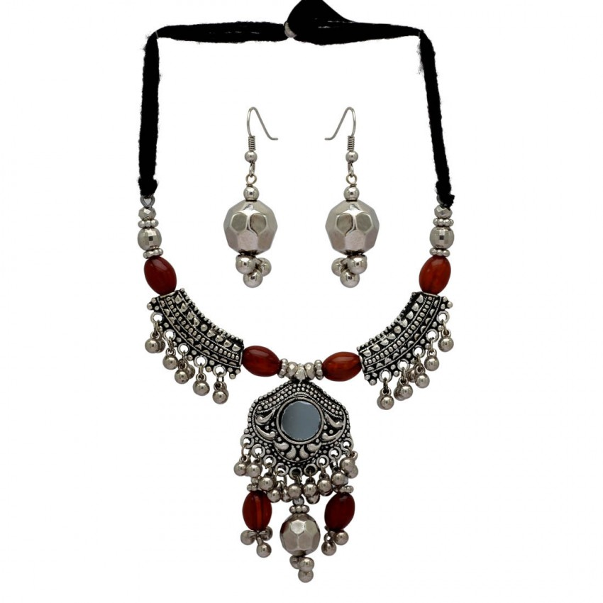 Oxidized Metal Navratri Jewellery Set-multicolor Beads Pendant By Culturelink