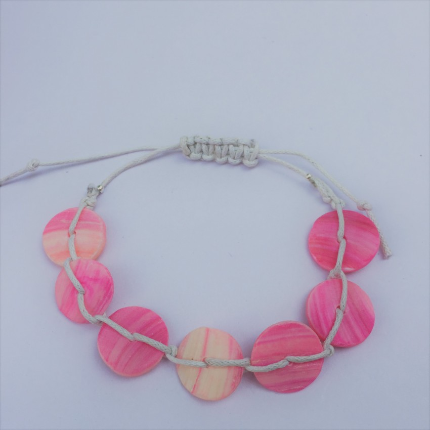 white wax thread pink spacer macrame bracelet