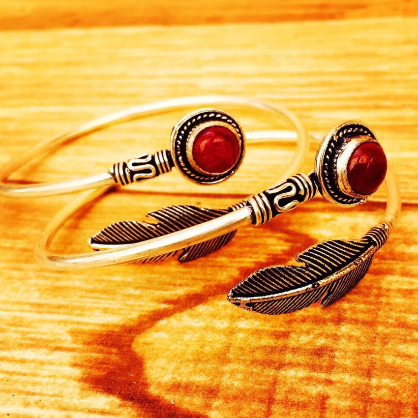 German silver natural red stone feather single bracelet