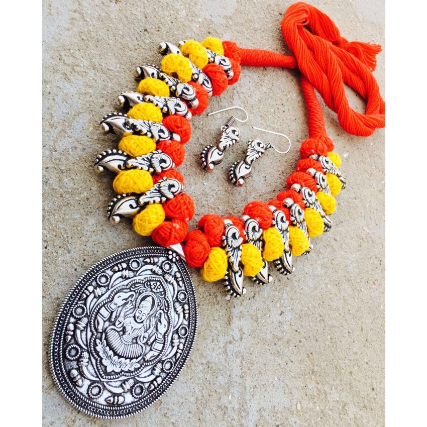 GERMAN SILVER BEAUTIFUL HAND MADE YELLOW ORANGE LAXMI  NECKLACE WITH EARRINGS