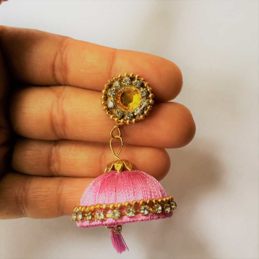 Pink handmade silk thread jhumka and handmade stud with traditional look