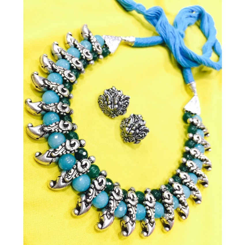 German silver choker with Aqua semiprecious beads