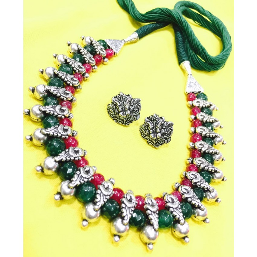German silver choker with green maroon jade semiprecious beads
