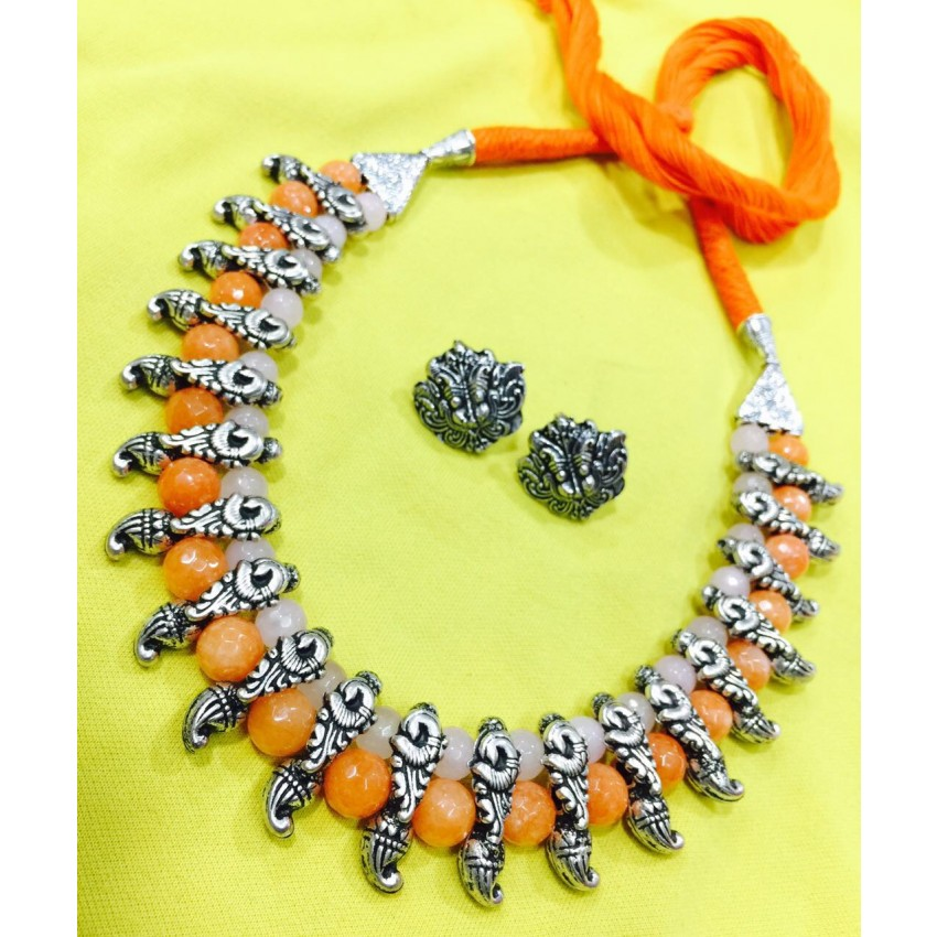 German silver choker with orange and baby pink jade semiprecious beads