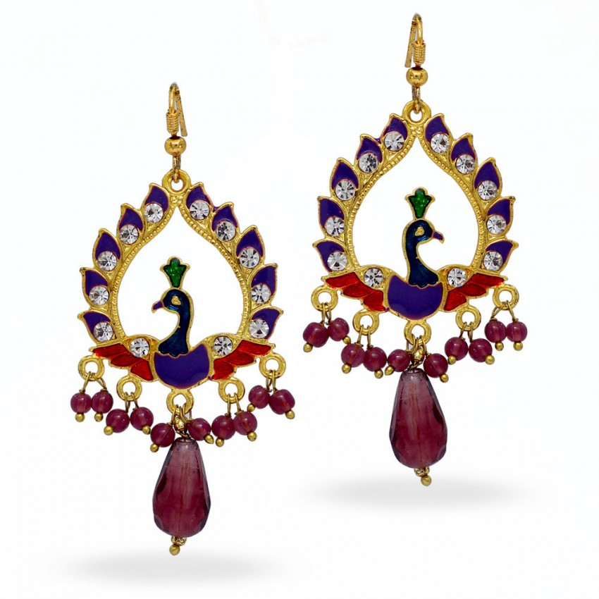 MEENAKARI PEACOCK SHAPE BLACK  PARTYWEAR FASHION EARRINGS