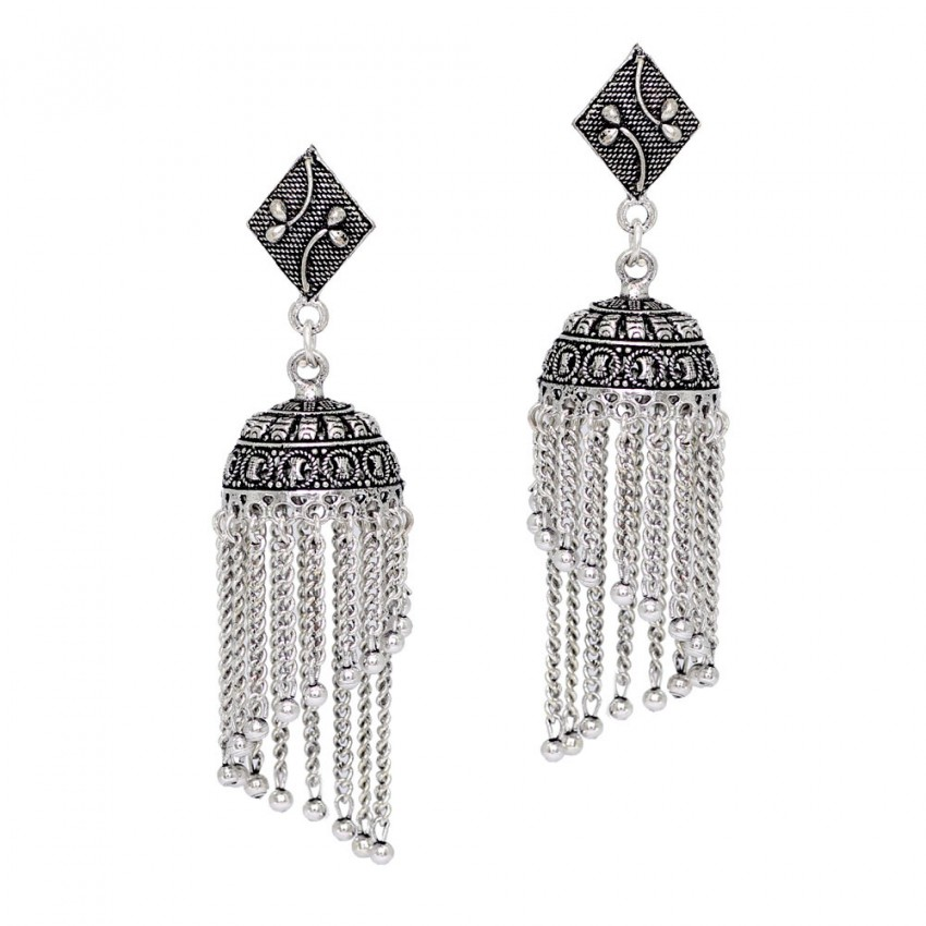 SPIRAL SILVER TONE CHAIN STYLE OXIDISED JHUMKA EARRINGS WITH SQUARE STUD
