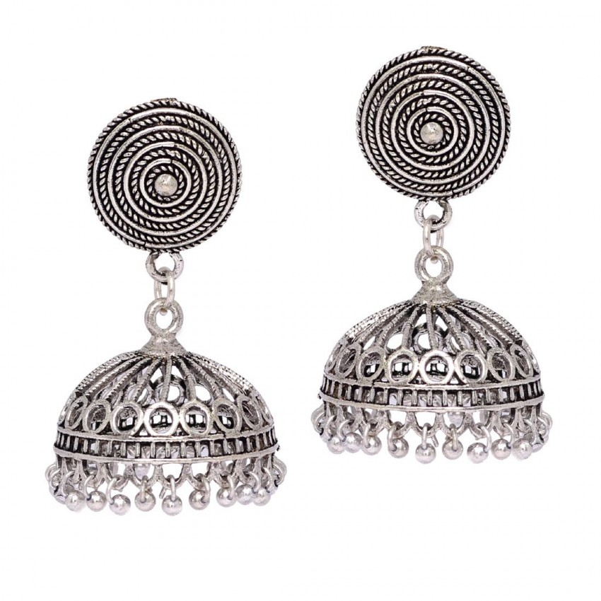 GORGEOUS OXIDISED SILVER SILVER JHUMKI EARRINGS