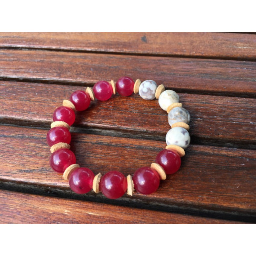 Jade and coral fissile bracelate reiki yoga meditation